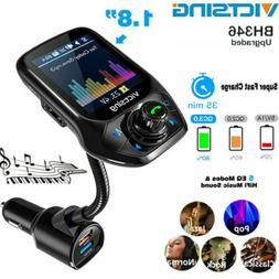 "VicTsing 1.8"" Color Bluetooth 5.0 Car Kit FM Transmitter QC"