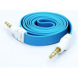 Blue Flat Aux Cable Car Stereo Wire Audio Speaker Cord 3.5mm