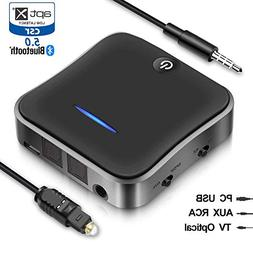 Wsiiroon Bluetooth 5.0 Transmitter Receiver, 2-in-1 Wireless