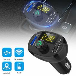 bluetooth car charger display usb