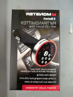 MONSTER BLUETOOTH  FM TRANSMITTER  CAR CHARGER WFM9-1002 BLK
