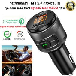 Bluetooth FM Transmitter For Car W/QC3.0 Fast Charger Wirele