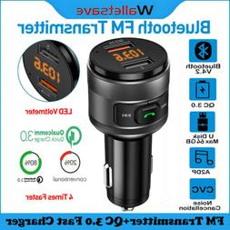 Bluetooth FM Transmitter For Car With QC3.0 USB Fast Charger