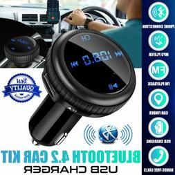 Bluetooth FM Transmitter Wireless in-Car Radio Adapter Music