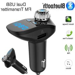 Bluetooth Wireless Car Charger Dual USB FM MP3 Power Adapter