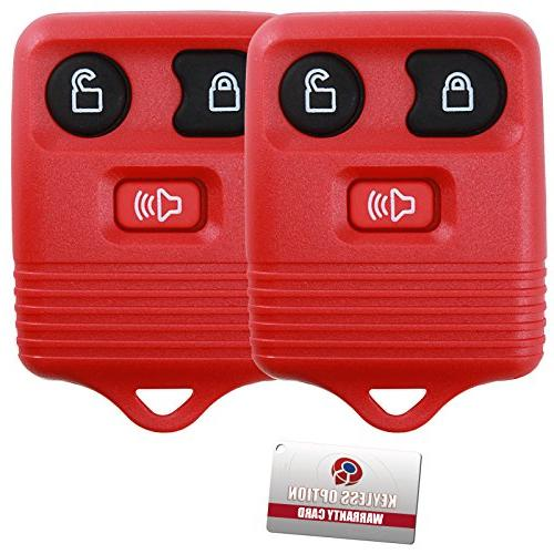 2 KeylessOption Red Replacement 3 Remote Control Key Clicker
