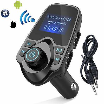 Bluetooth Car Kit FM Transmitter Wireless Radio USB Charger for