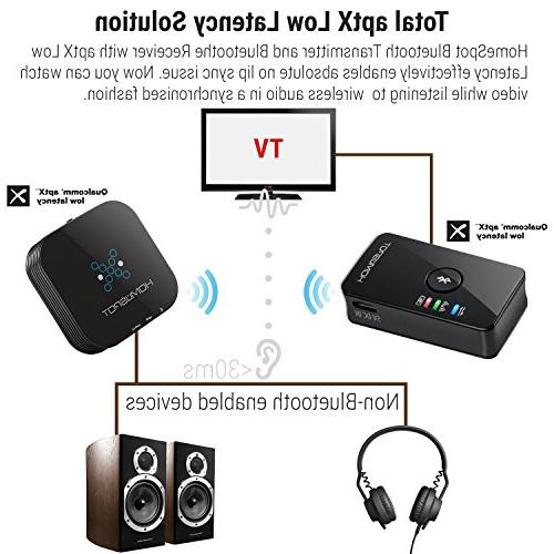 HomeSpot for TV Headphone by Wireless Adapter TV to Bluetooth Works 3.5mm Aux devices MP3 CD Player ears