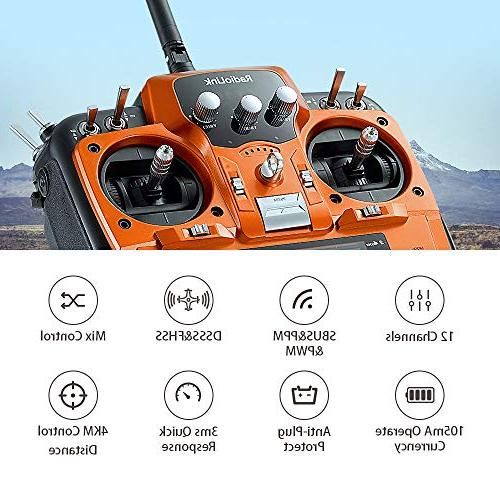 Radiolink AT10II RC Transmitter Receiver 2.4GHz DSSS&FHSS Radio Remote for Drone/Fixed Wing/Multicopters/Helicopter
