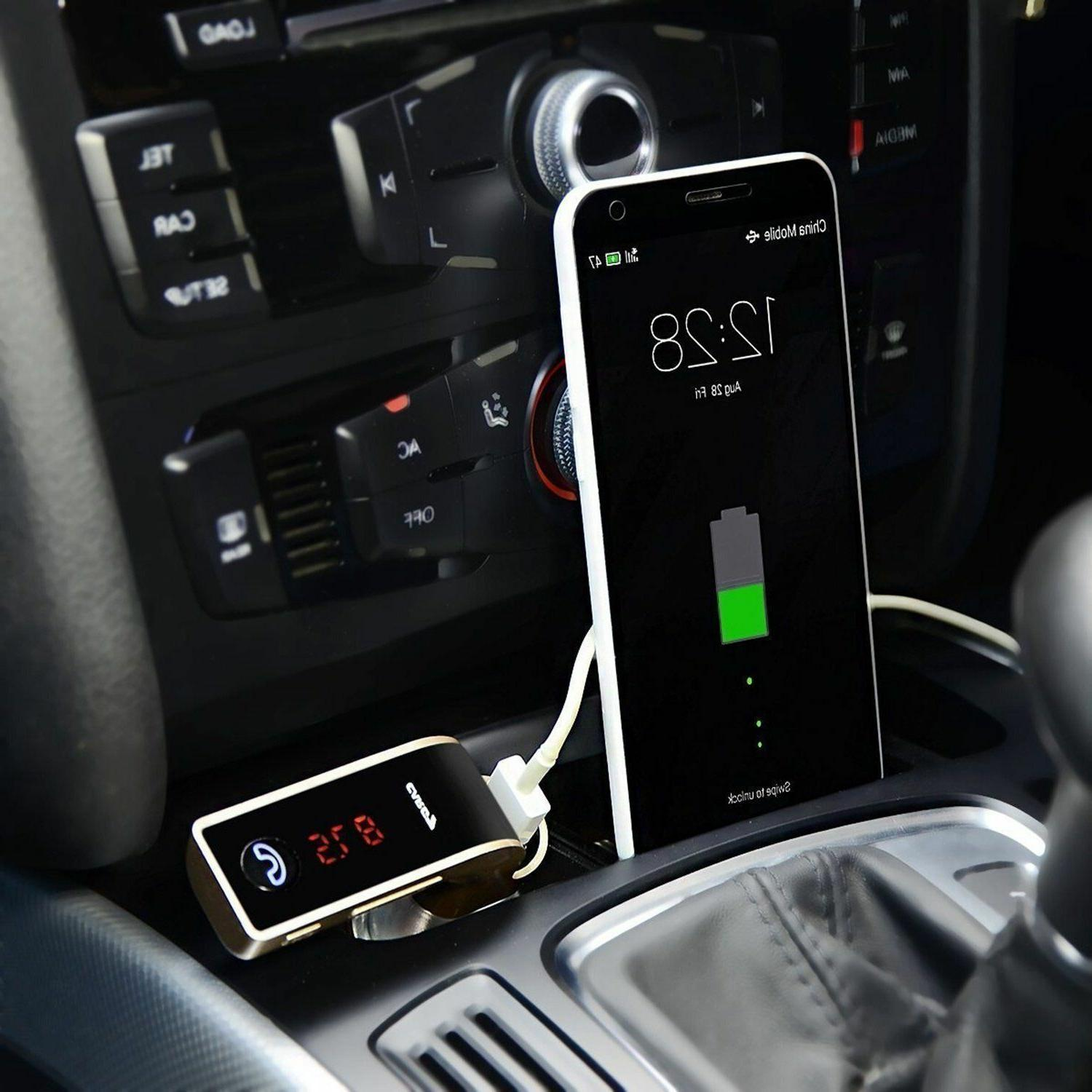 Bluetooth 4.2 car FM adapter SD Slot USB charger