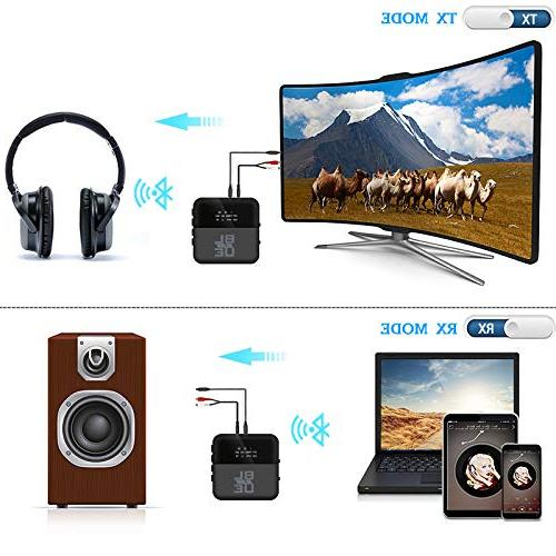 Bluetooth Transmitter - Wirless 2-in-1 aptX HD Low Latency Bluetooth Audio 3.5mm Adapter TV Stereo System