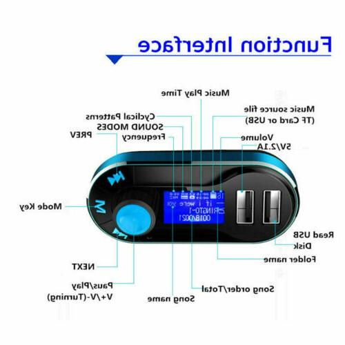 Bluetooth FM Dual USB Charger Hands-free MP3 Adapter