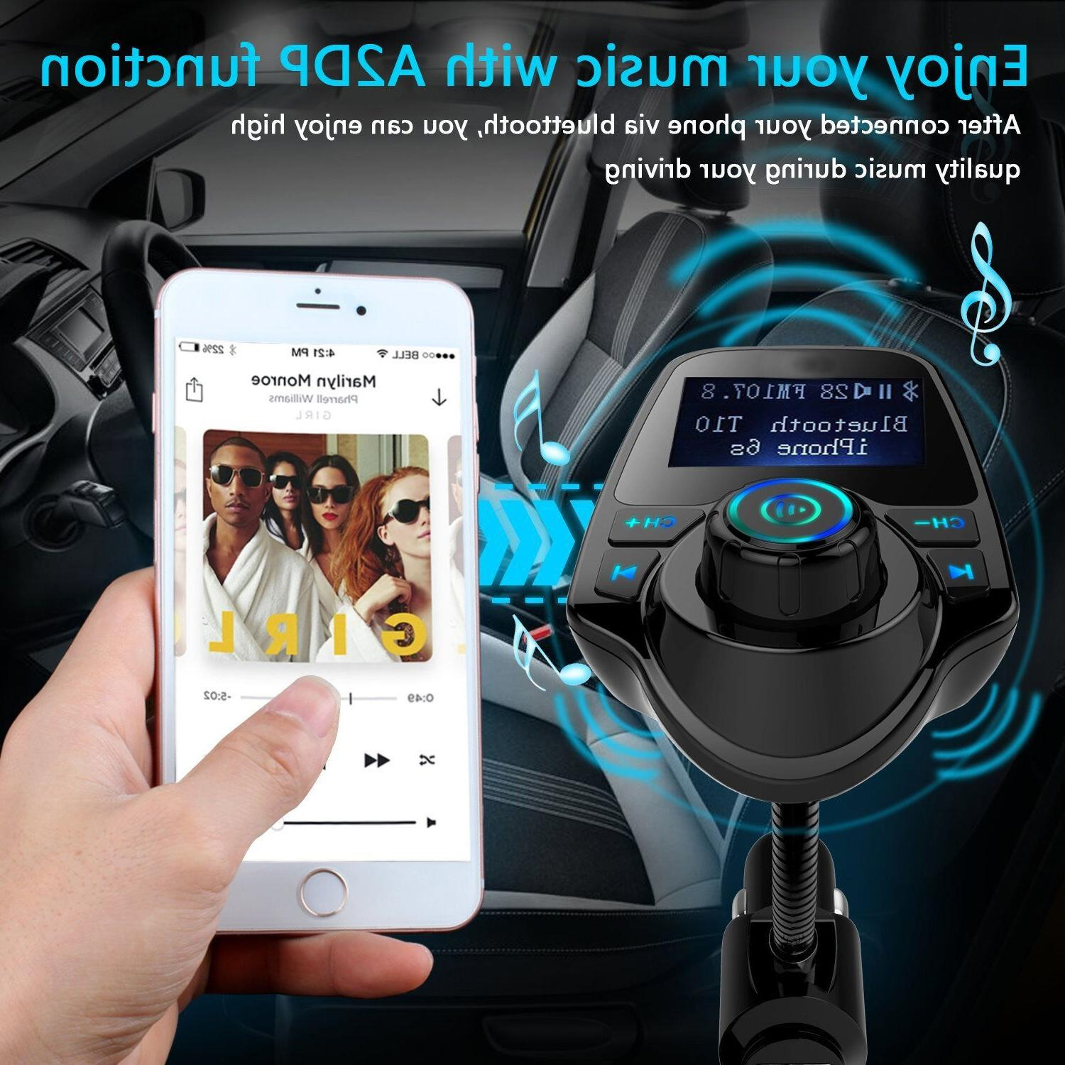 Bluetooth Car Kit Player FM Transmitter Radio Adapter USB