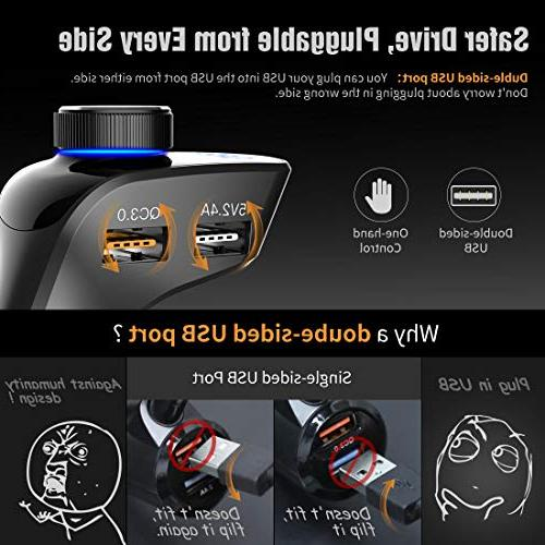 ABOX Transmitter for Car, Trekpow Wireless Bluetooth Adapter Car Kit with Handsfree Ports, Display, TF Input/Output