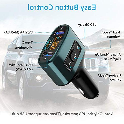 Bluetooth Wireless Adapter Receiver Car USB Type-C USB Ports, Support