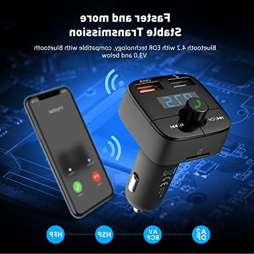 VicTsing FM for 3.0 with Hands-Free Calling Dual USB Player Support U Disk for iPhone, Samsung and