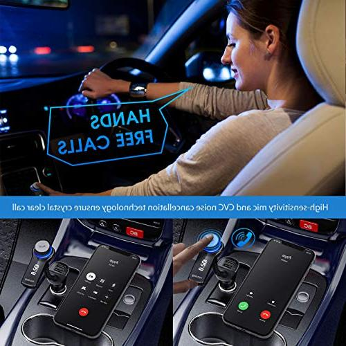 VicTsing Bluetooth Transmitter for Radio Transmitter, Wireless Bluetooth Radio Adapter Kit with Hands-Free Calling and USB Ports