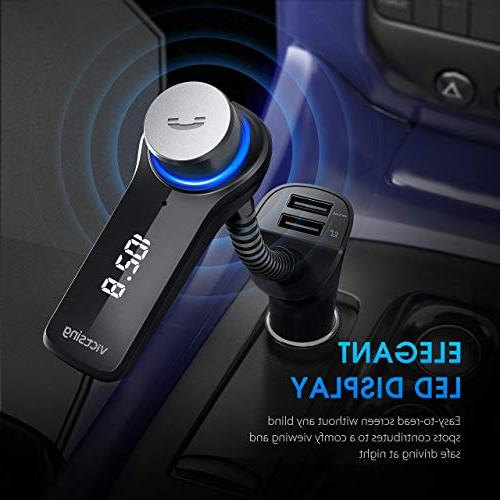 VicTsing Bluetooth FM Radio Transmitter, Wireless Bluetooth Radio Kit with HI-FI Stereo Hands-Free Calling and USB
