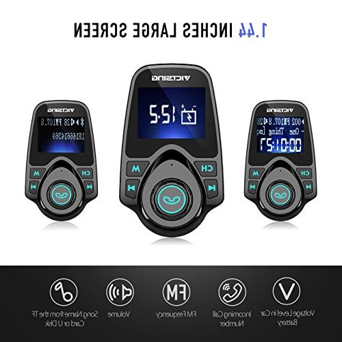 VicTsing Bluetooth for Wireless Radio Adapter Hand-Free Calling LCD Display, Player Support Card Flash Drive
