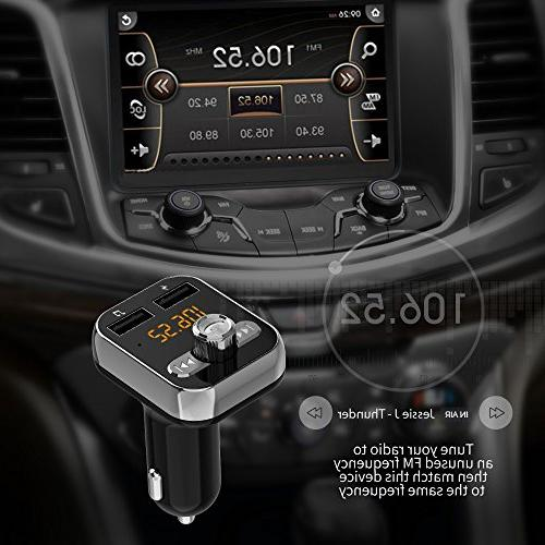 Bluetooth FM Transmitter, Bluetooth Adapter, Wireless in-car Bluetooth Player Adapter car Interface iPhone Speakerphone Samsung