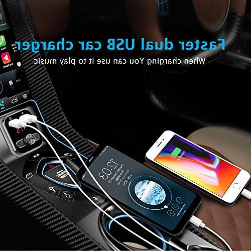 Bluetooth FM Transmitter, Bluetooth Car in-car Bluetooth Receiver MP3 Player Stereo Radio car kit, Dual USB Samsung Smartphone