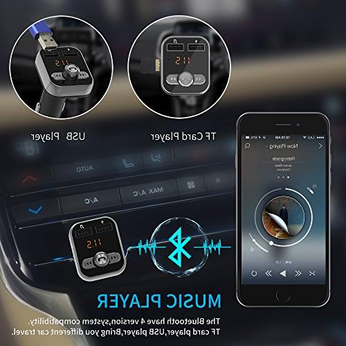 Bluetooth FM Transmitter, WPWPOO in-car Bluetooth Player Adapter car kit, Interface and Samsung Smartphone