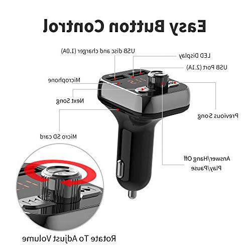 Bluetooth Bluetooth Car Adapter, in-car Receiver Player car kit, Interface and iPhone Speakerphone Samsung Smartphone