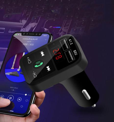 Bluetooth Transmitter Wireless In-Car Adapter Charger For