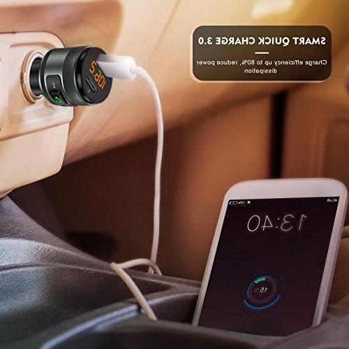 Bluetooth Transmitter for Car, Wireless FM Player 2 Support