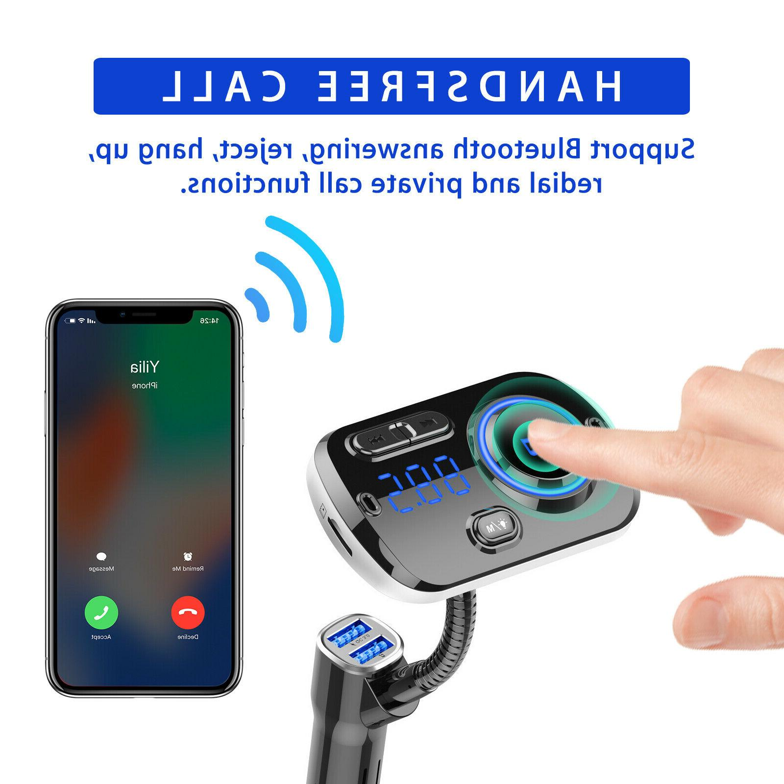 Bluetooth In Car FM Transmitter Adapter Car USB Charger