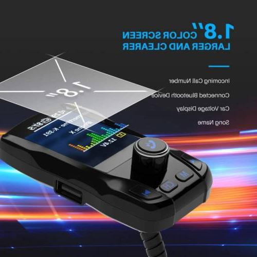 VicTsing Car Bluetooth Transmitter Color Wireless 3 TF