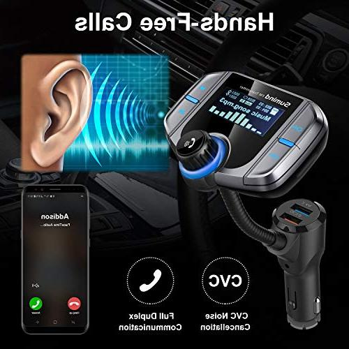 Sumind Car FM Wireless Adapter Hands-Free Kit 1.7 Display, and Smart Ports, Card Mp3