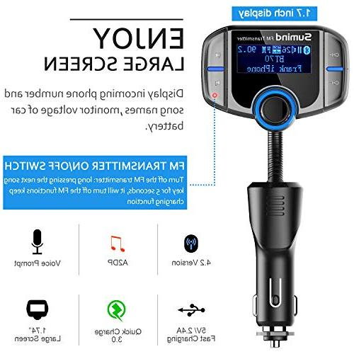 Sumind Bluetooth FM Wireless Adapter Hands-Free Kit with 1.7 Inch and 2.4A USB Ports, Input/Output, TF Card Player