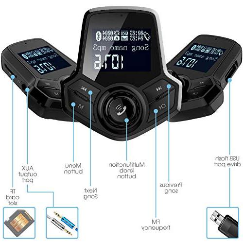 in-Car Bluetooth FM Transmitter Wireless Radio Adapter Car Inches Mp3 Dual Ports AUX Voltmeter Function for Smart Phones Audio Players
