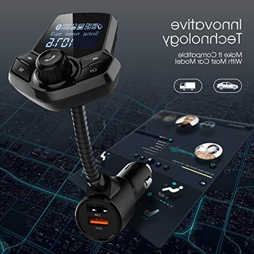 in-Car Bluetooth FM Transmitter Wireless Car Kit with Inches Mp3 Function for Phones Audio