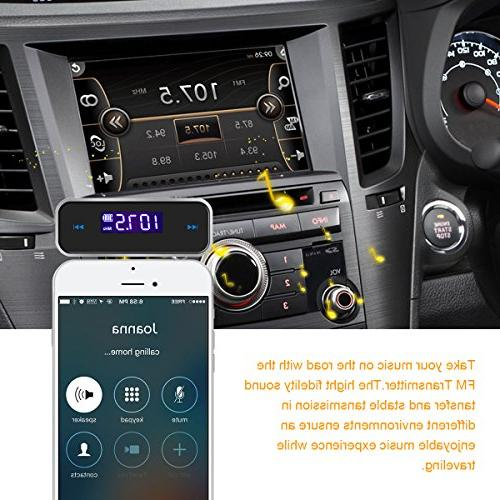 Car FM Transmitter Audio Car Kit,FM in-Car Transmitter Mini Adapter with Built-in Aux Port for iPhone 6s iPod iPad MP MP4 Audio