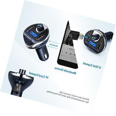Wireless Radio Adapter Kit, USB Car Charger Charging Ports, Hands Calling