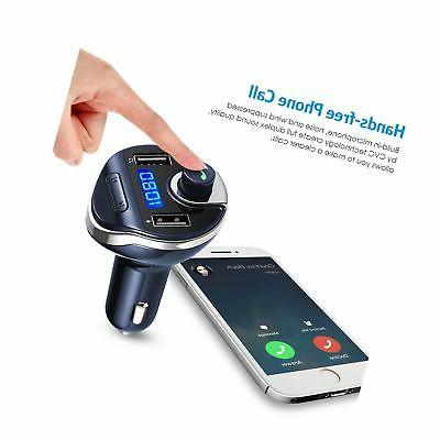 Criacr FM Transmitter Bluetooth, Wireless Radio Transmitter Car Adapter Kit, Universal Car with Dual Charging Calling for All