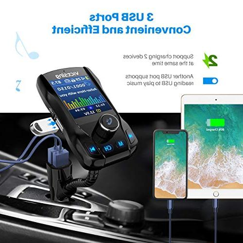 VicTsing Display Bluetooth FM Car, Radio Adapter with EQ Mode, Ports, 4 Hands-Free