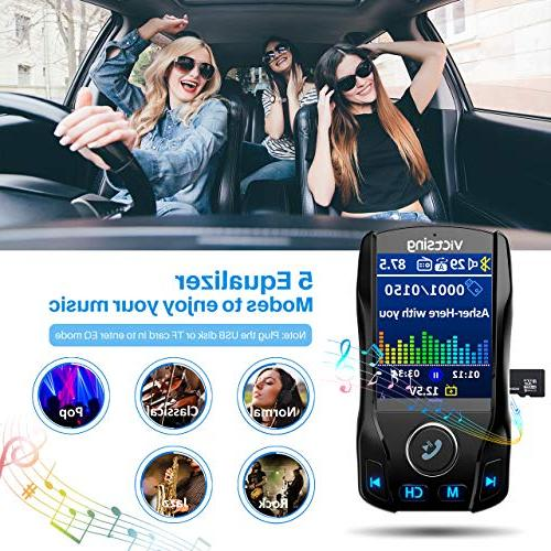 VicTsing Bluetooth Transmitter for Car, Wireless Adapter with EQ Power Ports, Playing, Hands-Free Calls,