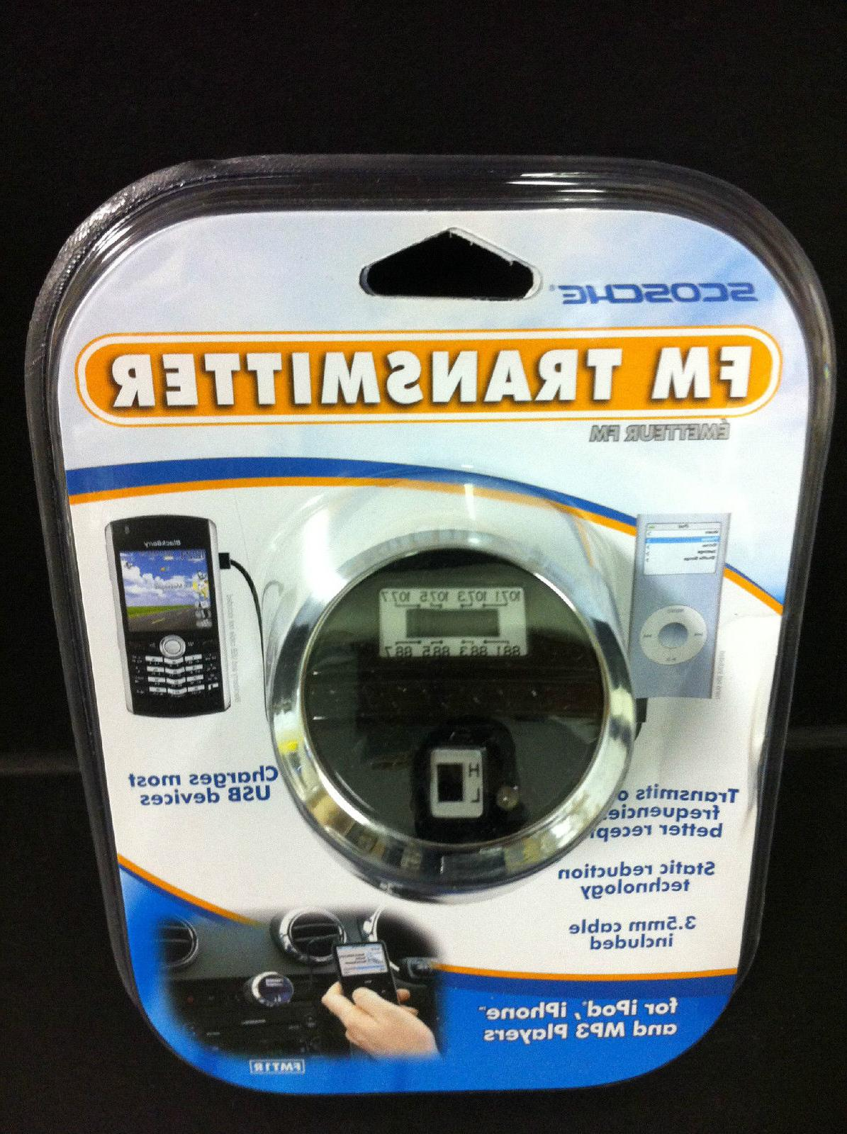 Scosche FM Transmitter+USB Charger Cable iPhone 6/s/Plus/5S/4S
