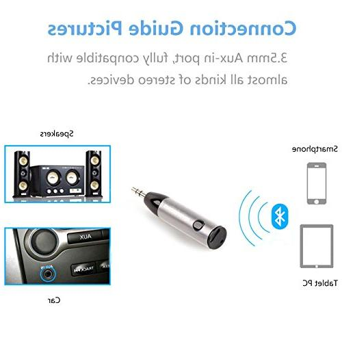 RIVERSONG Mini Receiver, Wireless Bluetooth Adapter Hands-Free Car Kits Jack Stereo Headphone