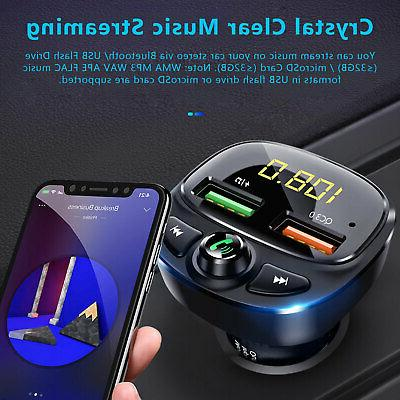 Wireless Bluetooth Transmitter QC3.0 AUX Adapter Car