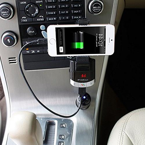 Wireless Bluetooth FM Car Kit, Multi-functional Cell phone Mount free Calling, MP3 Player, Charger for iPhone Samsung Smart Tablets iPad Mini