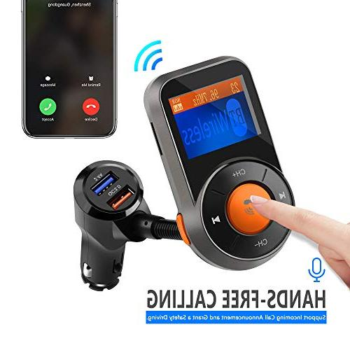 Wireless Car Rocketek FM Transmitter Audio Receiver Car Kit and Smart 2.4A Dual USB Ports, Card, AUX for All