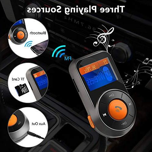 Wireless FM Rocketek Audio Adapter Handsfree Car Kit and Dual USB Ports, TF/Micro Card, AUX Output All Audio