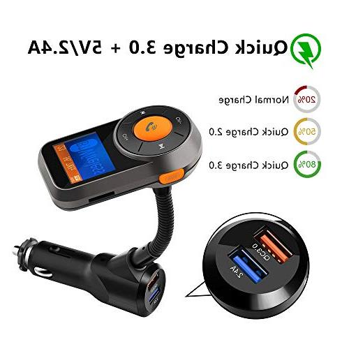Wireless Car FM Transmitter, Rocketek FM Audio Adapter Handsfree Car Kit and Smart 2.4A USB Ports, TF/Micro Card, AUX All Audio