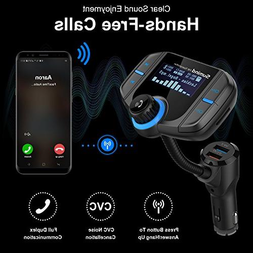 Sumind Wireless Car Fm Bluetooth Transmitter Inch Display, QC3.0/2.4A USB Ports, Input/Output, Mp3 Player Mount and Plate