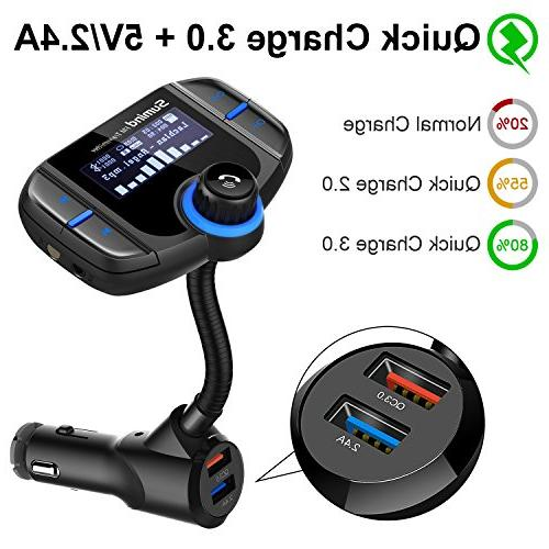 Sumind Wireless Radio Car Bluetooth Bluetooth 1.7 Inch USB Ports, Input/Output, Mp3 Player with Magnetic Mount and