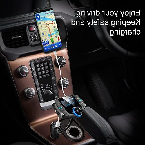 Sumind Radio Car Bluetooth Transmitter Inch QC3.0/2.4A USB AUX Mp3 with Magnetic Mount